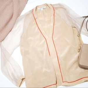 Elizabeth and James Silk Sheer Nude Coral Blouse